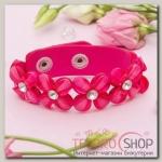 Браслет кожа Цветы сияющие, цвет розовый - бижутерия
