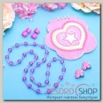 Набор детский Выбражулька 7 предметов: 4 краба, клипсы, бусы, блокнот МИКС, бабочки, цвет фиолетовый - бижутерия