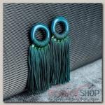 Серьги Кисти танго, цвет зелёный, L кисти 6 см - бижутерия