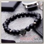 Браслет мужской Бастион гепард, цвет чёрный в сером металле - бижутерия