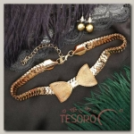 Набор 2 предмета: серьги, чокер Триумф бант, цвет золото - бижутерия