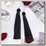 Серьги Кисти романс, цвет чёрный в серебре, длина кисти 16 см - бижутерия