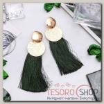 Серьги ассорти Кисти хинди, цвет зелёный в золоте, L кисти 6,5 см - бижутерия