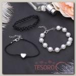 Браслет жемчуг Романтик чокерное плетение, набор 3 штуки, цвет бело-чёрный в серебре - бижутерия