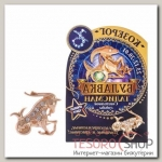 Брошь гороскоп Знаки зодиака козерог, 3 х 2,5 см, цвет белый в золоте - бижутерия