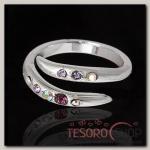 Кольцо Марципан, безразмерное, цвет фиолетовый в серебре