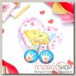 Набор серьги+открытка, Candy корона, цвет сине-жёлтый в серебре - бижутерия