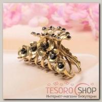 Краб для волос Терция синяя 5 см цветы в золоте - бижутерия