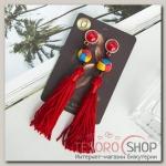 Серьги Кисти парадиз, цвет красный, L кисти 8 см - бижутерия