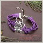 """Браслет """"Магия знаков"""" корона и сердце, цвет фиолетовый - бижутерия"""