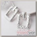 Серьги металл Эстетика прямоугольник, цвет матовое серебро - бижутерия