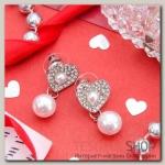 Серьги с жемчугом Сердце любящее, цвет белый в серебре - бижутерия