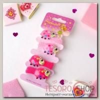 Резинка для волос Весёлый глянец (набор 4 шт) жуки, розовый - бижутерия