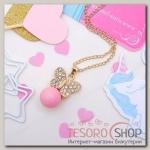 Кулон Легкость бабочка с бусинкой, цвет розовый в золоте - бижутерия