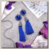 Серьги ассорти Кисти прямоугольник, цвет ярко-синий в чернёном серебре - бижутерия