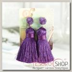 Серьги Кисти аккорд, цвет тёмно-фиолетовый, L кисти 5,5 см - бижутерия