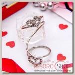 Кольцо Сердце дуэт, размер 18, цвет белый в серебре
