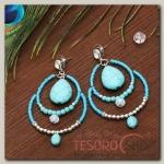 Серьги Капля вдохновение, цвет голубой в серебре - бижутерия