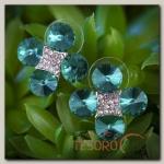 Серьги со стразами Цветок четырёхлистник, цвет голубой в серебре - бижутерия