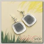 Серьги эмаль Прямоугольник с кругом, цвет серый в серебре - бижутерия