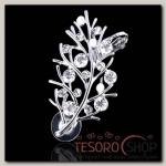 Серьга Каффа веточка, блеск, цвет белый в серебре - бижутерия