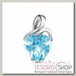 Подвеска Сердце, посеребрение, цвет голубой - бижутерия