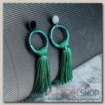 Серьги Кисти этюд, цвет зелёный, L кисти 7 см - бижутерия