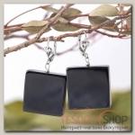 Серьги Агат чёрный квадрат - бижутерия
