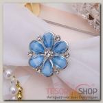 """Кольцо для платка """"Маргаритка"""", цвет синий в серебре"""