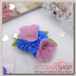 Зажим для волос ручной работы Синие розы - бижутерия