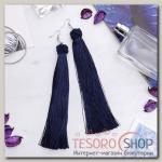 Серьги Кисти романс, цвет тёмно-синий в серебре, длина кисти 16 см - бижутерия