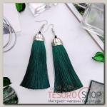 Серьги Кисти рандеву, цвет зелёный в серебре, длина кисти 9 см - бижутерия
