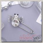Булавка Паучок, 5см, цвет белый в серебре - бижутерия