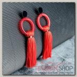 Серьги Кисти этюд, цвет красный, L кисти 7 см - бижутерия