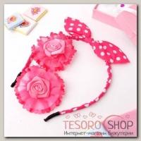 Набор для волос Солоха (ободок, 2 зажима) розочки, розовый - бижутерия