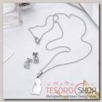 Гарнитур 2 предмета: Стальной котик, цвет серебро, 45 см - бижутерия