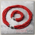 Набор 2 предмета: бусы, браслет Хрусталь с бисером, цвет красный матовый - бижутерия
