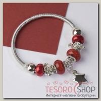 Браслет ассорти Марджери, подвеска МИКС, цвет красный в серебре - бижутерия