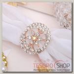 """Кольцо для платка """"Цветок"""" кувшинка, цвет радужный в розовом золоте"""