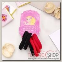 Резинка для волос Махрушка (набор 6 шт) 3,5 см, чёрный, красный - бижутерия