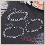 Браслет металл Романтик цепочки, набор 3 штуки, цвет серебро - бижутерия