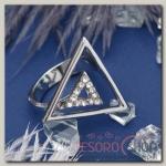 Кольцо Геометрия треугольники, цвет белый в серебре, размер 18