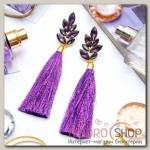 Серьги ассорти Кисти мерцание нитей, цвет фиолетовый, L кисти 8см - бижутерия