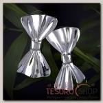 Серьги металл Бант, цвет серебро - бижутерия