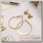 Серьги-кольца с пуссетами Божья коровка, цвет золото, d=2,5 см - бижутерия