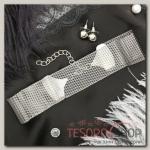 Набор 2 предмета: серьги, чокер Триумф плетение крупное, цвет серебро - бижутерия