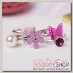 Набор детских колец Выбражулька красота, форма МИКС, цвет розовый - бижутерия