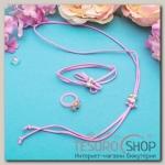 Набор детский Выбражулька 3 предмета: кулон, браслет, кольцо, бантики, цвет МИКС - бижутерия