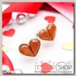 Серьги Сердечки маленькие, цвет коричневый в золоте - бижутерия