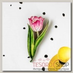 Брошь деревянная Цветок тюльпан